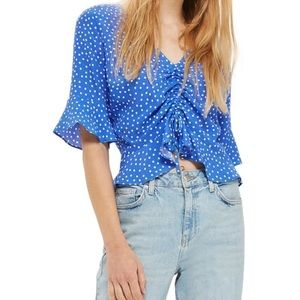 Topshop blue polka dot top